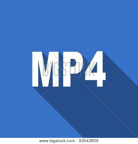 mp4 modern flat icon with long shadow