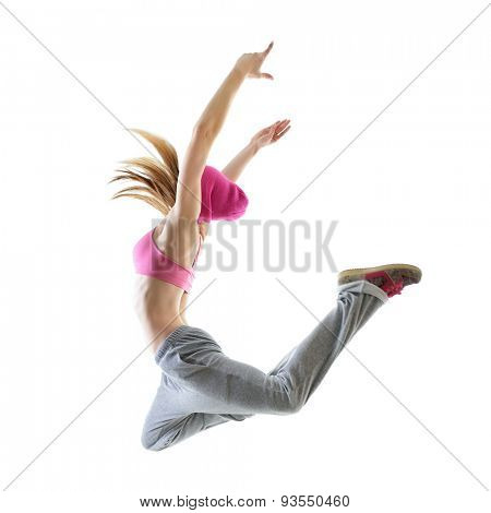 Jumping teen girl hip-hop dancer over white background