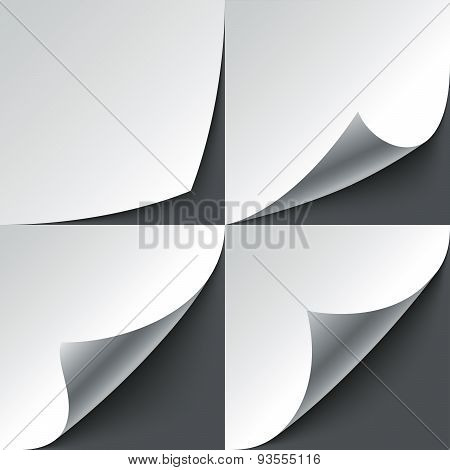 Set of curled white paper page corners with realistic shadows