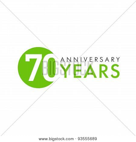 70 years old round logo. Anniversary year of 70 th vector banner numbers. Birthday greetings circle celebrates. Celebrating digits. Colored figures of ages.