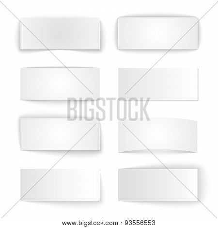 Set of isolated blank paper banners with transparent shadows on
