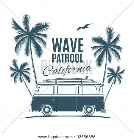Vintage, retro surf van with palms and a gull.