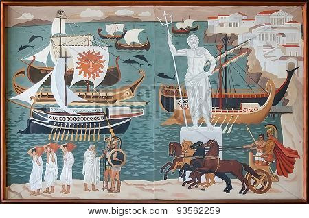 Retro Painting Which Depicts The Ancient Greek Ships In Port