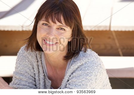 Healthy Older Woman Smiling Outside