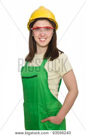 Woman wearing hard hat isolated on white