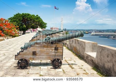 Old spanish cannons at La Cabana fortress in Havana