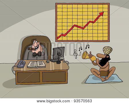 Conceptual cartoon about company profit