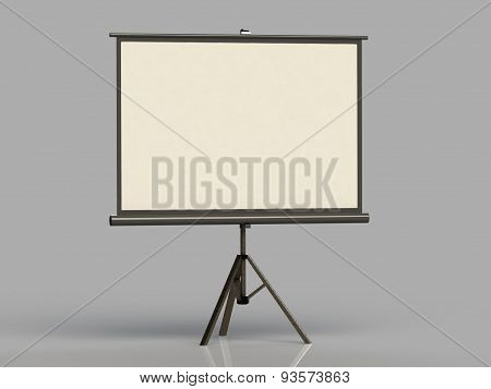 White Screen On A Tripod Projector Deployed