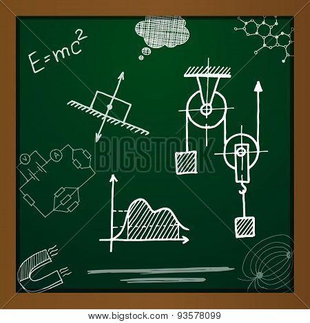 Vector chalk draw phisics elements