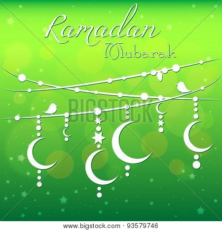 Card with garland for congratulations with beginning of fasting month of Ramadan as well with Islamic holiday Eid al-Fitr and Eid al-Adha. Vector illustration poster