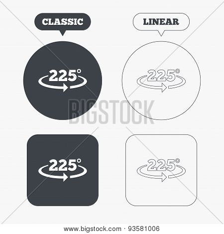 Angle 225 degrees sign icon. Geometry math symbol. Classic and line web buttons. Circles and squares. Vector poster