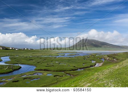 Ceapabhal hill and tidal inlets or saltings at An Taobh Tuath or Northton on the Isle of Harris, Scotland.