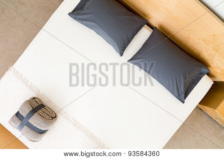 Overhead View Of A Neat King Size Bed