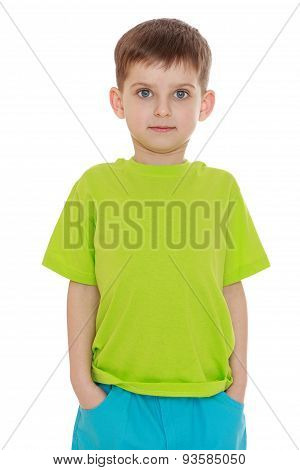 The little boy in the green shirt