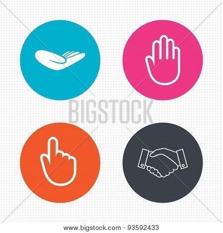 Hand icons. Handshake and click here symbols.