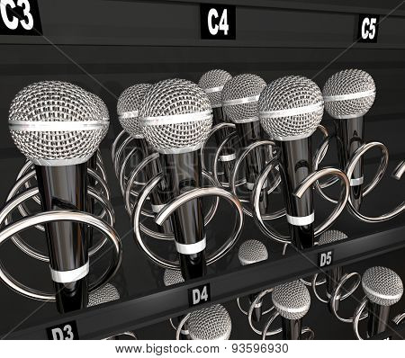 Microphones in a snack or vending machine to illustrate a talent or singing contest, show or competition