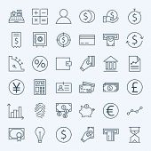 Line Finance Money and Banking Icons Set. Vector Set of 36 Line Art Modern Icons for Web and Mobile. Bank and Banking. Debit and Credit. Money and Finance Items. Business Investments and Earnings Objects. poster