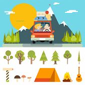 Family Trip Road Car Concept Flat Design Mountain Forest Background Vector Illustration poster