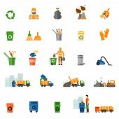 Garbage and trash flat icons set. Trash export and recycle, clean and bucket, vector illustration poster