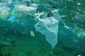 Environmental problem of plastic rubbish pollution in ocean poster