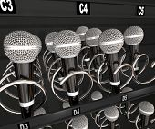 Microphones in a snack or vending machine to illustrate a talent or singing contest, show or competition poster