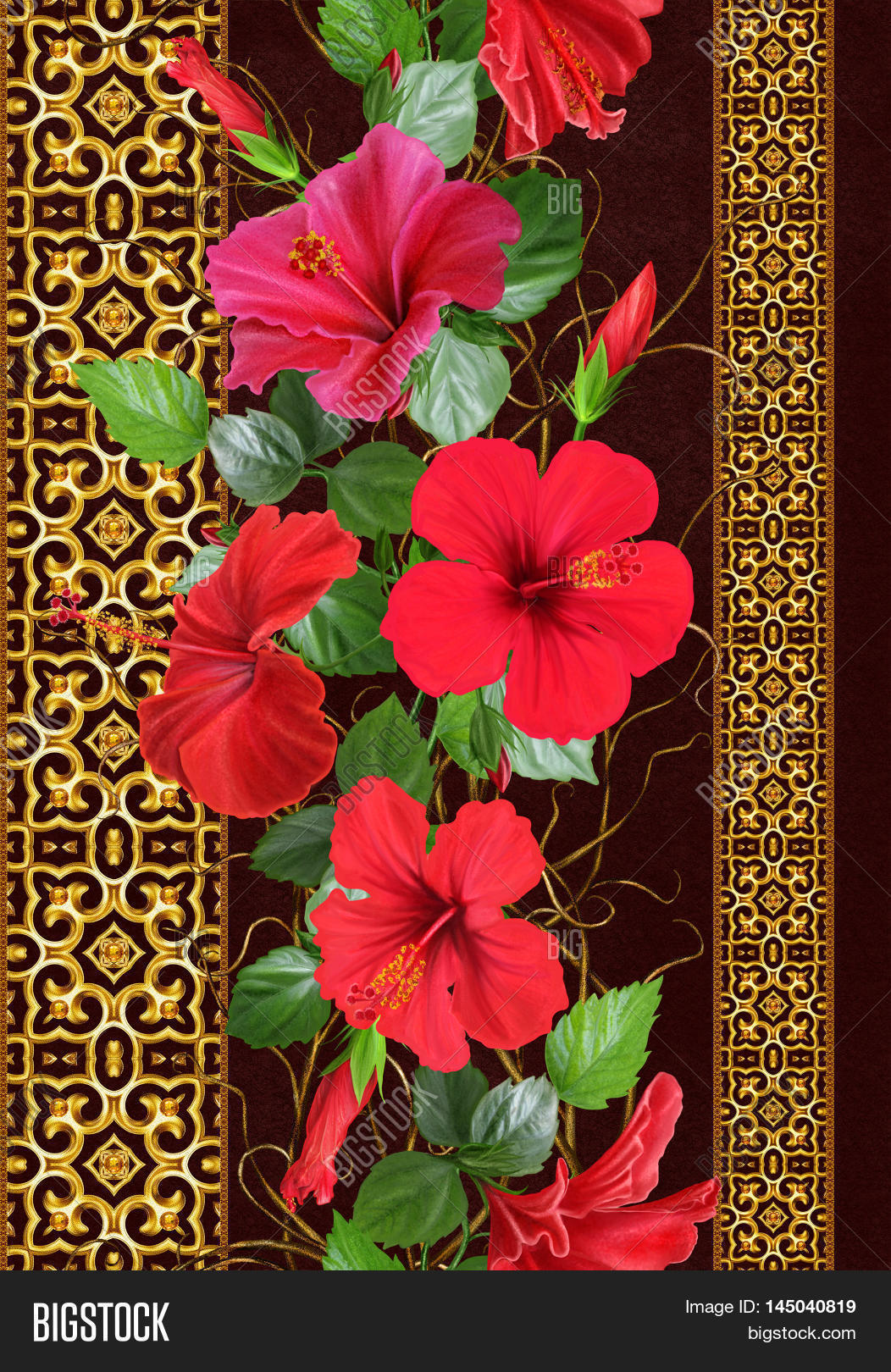 Vertical floral border pattern image photo bigstock vertical floral border pattern seamless flower garland weaving of thin branches red tropical hibiscus izmirmasajfo Gallery