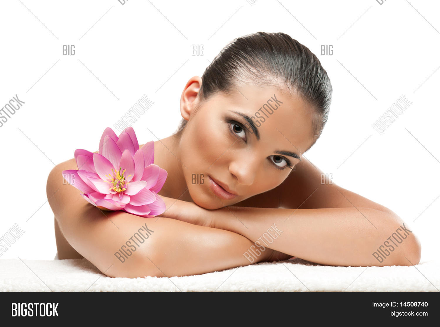 Young beautiful woman relaxing image photo bigstock young beautiful woman relaxing with lotus flower at spa isolated on white background professional beauty izmirmasajfo