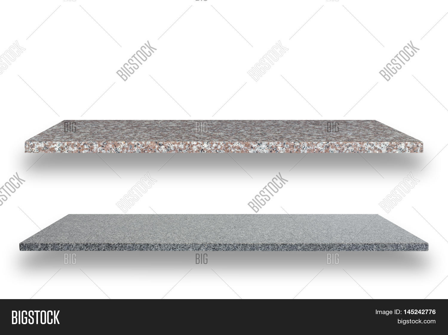 Piece Of Natural Stone Shelves Isolated On White. Saved With Clipping Path