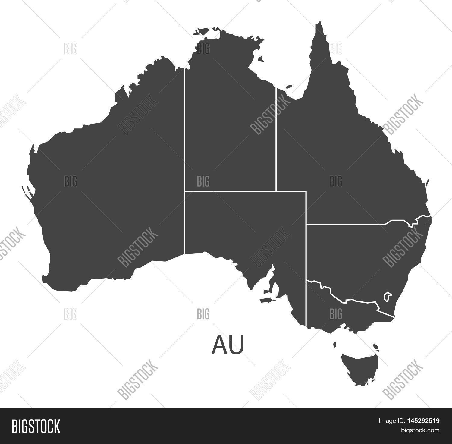Australia Map Vector With States.Australia Map States Vector Photo Free Trial Bigstock