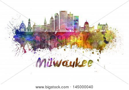 Milwaukee skyline in watercolor splatters with clipping path
