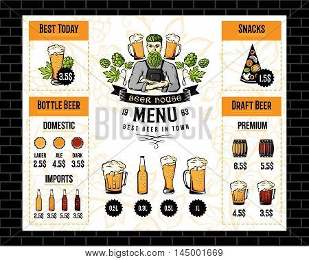 Beer pub menu with brewer emblem hop decorations and drink icons. Restaurant flyer vector template. Alcohol bar brochure.