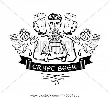 Craft beer emblem. Hipster brewer with hop beard ornament decorations and beer mugs. Monochrome vector illustration