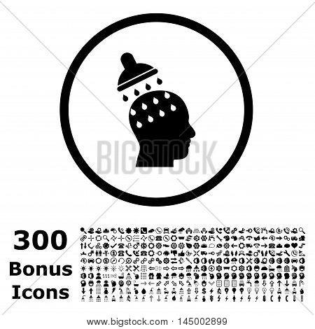 Brain Washing rounded icon with 300 bonus icons. Vector illustration style is flat iconic symbols, black color, white background.