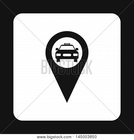 Geo taxi icon in simple style isolated on white background. Transportation symbol