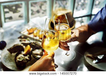 Champaign Celebration Toast Beverage Concept
