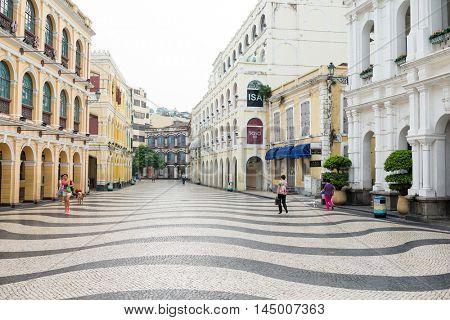 Macau, August 01, 2016: Senado Square, Historic Centre of Macau