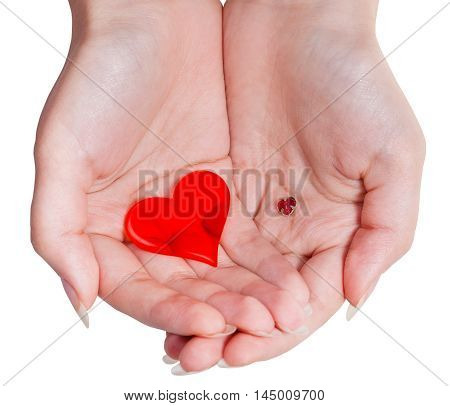 Two Red Hearts In Female Handful Isolated