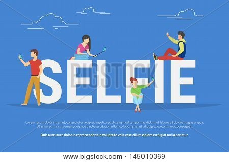 Selfie concept illustration of young students using smartphones with sticks for taking self photos. Flat people standing and sitting near letters selfie