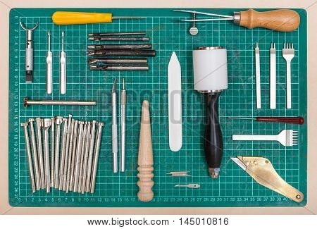 Various Tools For Leatherwork On Self-healing Mat