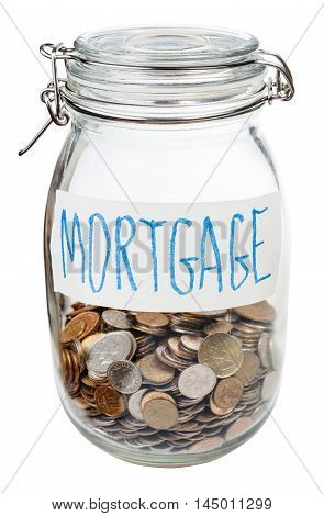 Saved Coins For Mortgage In Closed Glass Jar