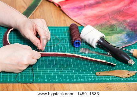 Craftsman Stitches Leather Belt For Embossed Bag