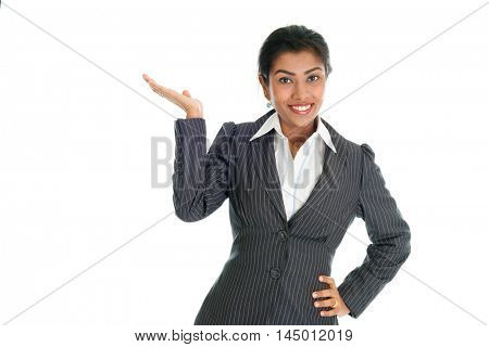 Black business woman in formalwear hand showing something, isolated on white background.