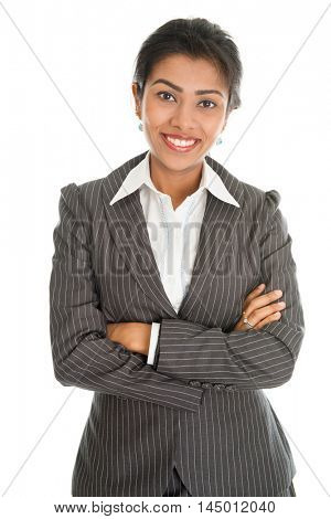 Portrait of black business woman in formalwear arms crossed, isolated on white background.