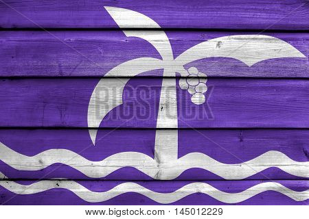 Flag Of Macae, Brazil, Painted On Old Wood Plank Background