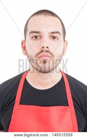 Closeup Portrait Of Young Supermarket Employee