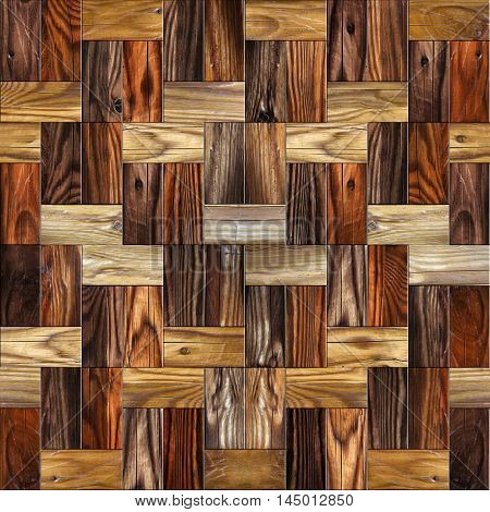 Wooden rectangular parquet stacked for seamless background. cherry veneer