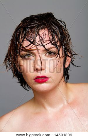 Gorgeous young woman with short hair beauty shot
