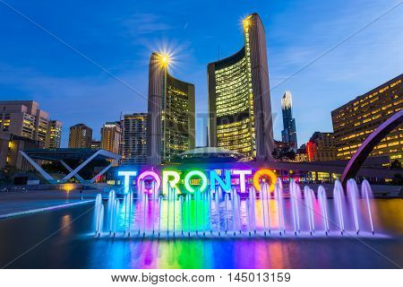 View of Toronto City Hall before dusk