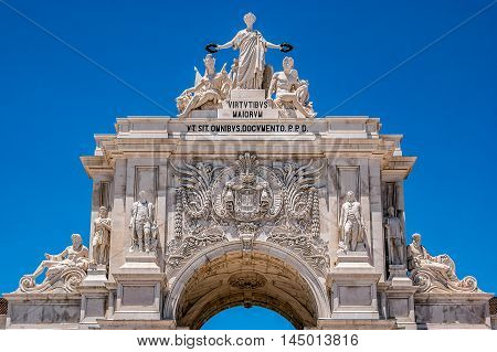 The Rua Augusta Arch, located between Augusta streets and the Commerce Square in Lisbon, the capital of Portugal