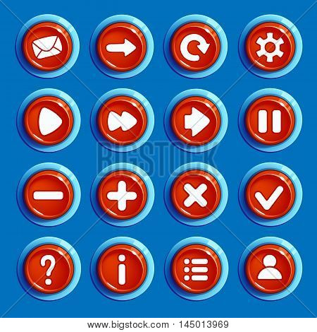 Set of Cartoon red round buttons with web icons, isolated vector elements. Gui elements, vector isolated games assets.menu set for mobile games.vector GUI elements kit.